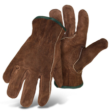 Boss Split Cowhide Driver Shirred Elastic Back, Color Coded Hem Gloves from